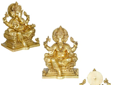 Get King Ganesha Granting Abhaya Brass Statue brass statues ganpati lambodara lord ganesha hindu god sculptures statues