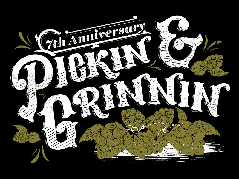 Pickin & Grinnin minnesota retro vintage texture lettering hand illustration brewery tshirt poster beer hops