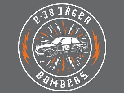 Jager Bomber grunge race bmw car retro lightning illustration