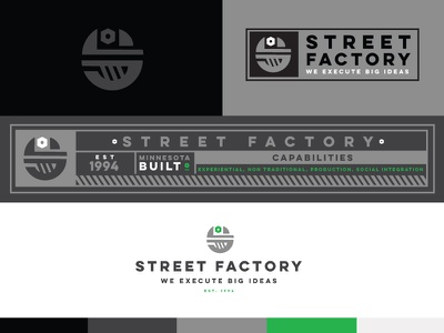 SF cutting room floor branding identity symbol mark logo street factory f s wrench bolt