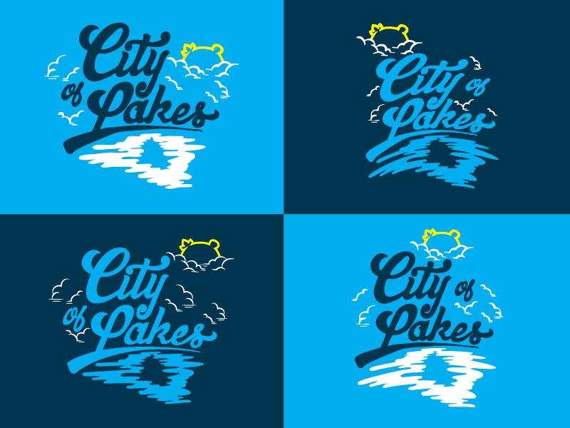 City of Lakes version 2 calhoun clouds water lakes sun minnesota minneapolis lettering hand illustration typography