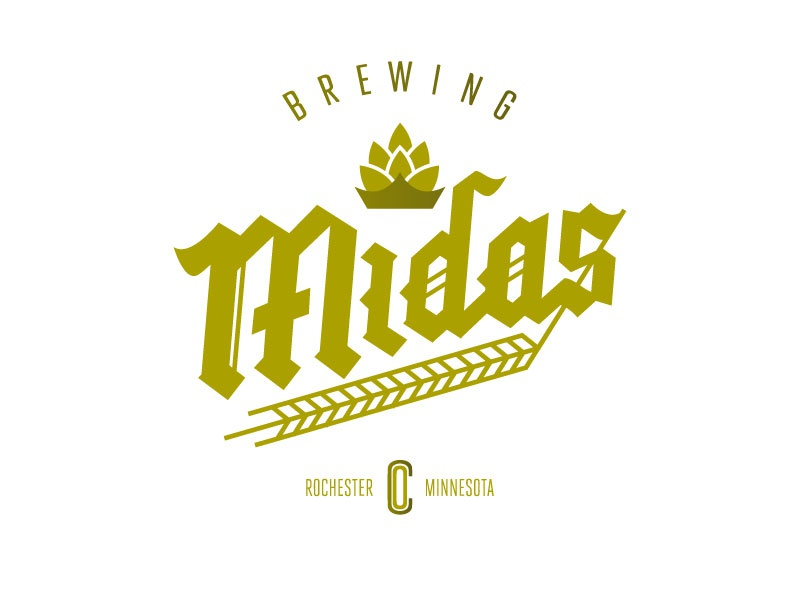 Midas Brewing crown identity branding type typography hand gold lettering blackletter barley hops brew