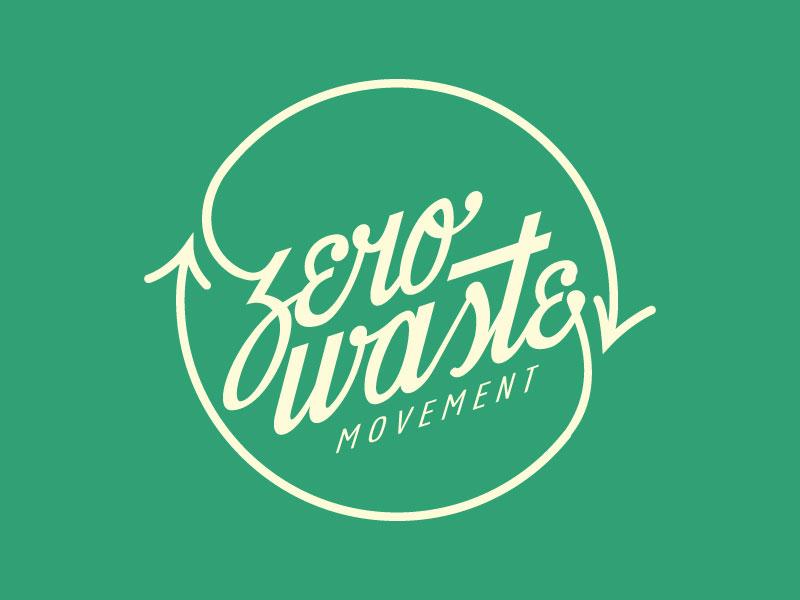 Zero Waste lockup lockup recycling waste lettering hand type script
