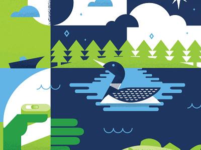 Up North north lake boat geometric fish moon sun trees beer loon minnesota illustration