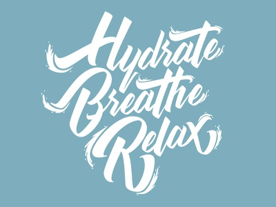 Hydrate waves water pen brush lettering hand illustration