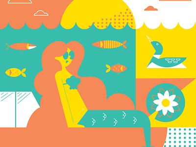 Summer time color fish geometric lily loon minnesota illustration mermaid