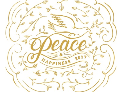 Peace holiday dove peace lettering hand illustration