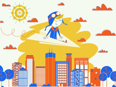 Aviator book 4 color texture skyline minneapolis illustration design character