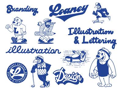 Animation tidbits loon bear bunyan paul lettering design sports illustration animation