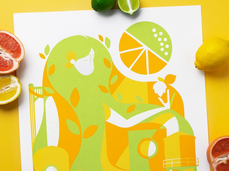 All hopped up on Citra artawhirl minneapolis northeast brewing screenprint citrus beer minnesota poster illustration