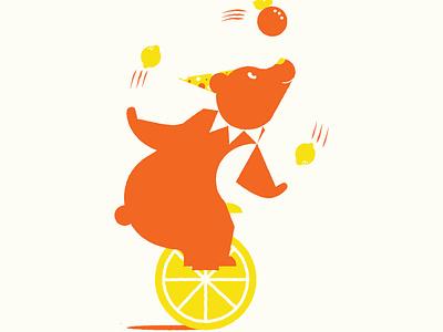 Citrus Circus juggle citrus circus character design bear illustration