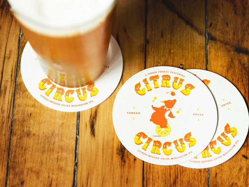 Citrus Circus type lettering bear minneapolis brewery illustration circus beer