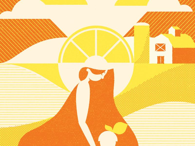 Citrus Fields illustration women hops farm field woman beer wheat citrus