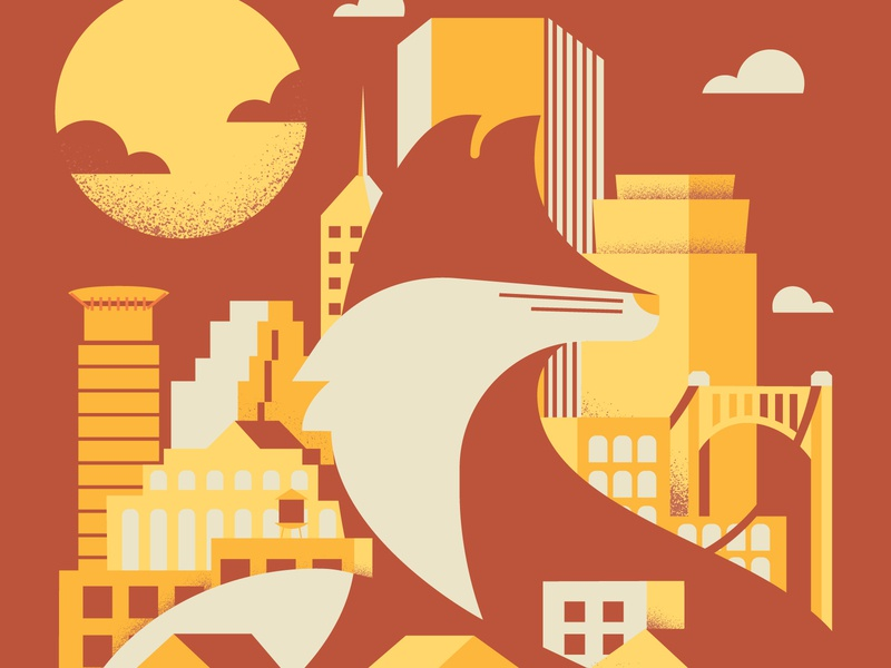 Sun Fox negative space texture minneapolis skyline geometric illustration illustrator fox