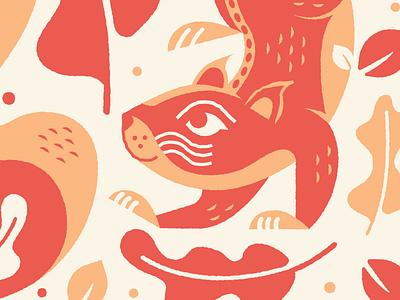Posters for Parks 2019 Sneak peek leaf fall pattern texture squirrel illustrator illustration