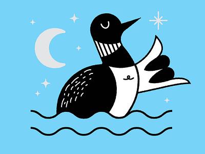Stay Loose minnesota moon night illustration loon