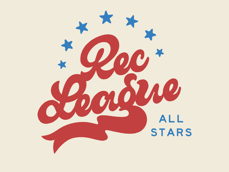 Rec league All-Stars all star sports retro typography script logo branding lettering illustration