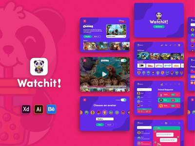 Watchit! - Kids Video Streaming Tablet App Concept entertainment video quarantine behance illustrator tablet ios android kids app design amazon app ipad user interface ui design ui adobe xd adobe