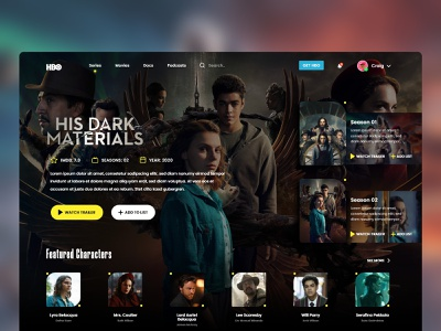 His Dark Materials - HBO Website Redesign figma adobe photoshop landingpage tv show series hbo redesign design website design webdesign website quarantine xd ui design ui user interface adobe xd adobe