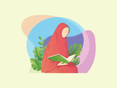 Akhwat reading quran character reading quran muslimah hijab art health green beautiful illustrator design illustration artwork vector