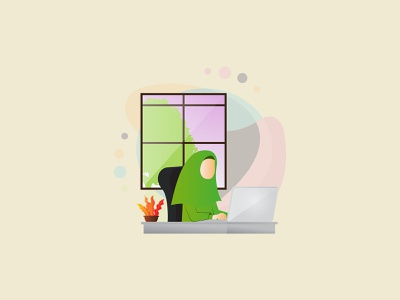 muslimah work from home website stay at home work from home beautiful illustration artwork vector