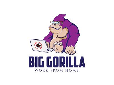 BIG GORILLA logo branding beautiful design illustrator web design anticorona coronavirus covid-19 work from home illustration artwork vector