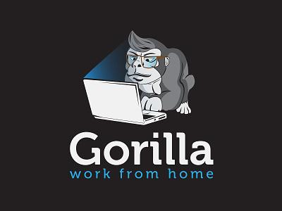 Gorilla work from home quarantine anticorona work from home branding beautiful design illustration artwork vector