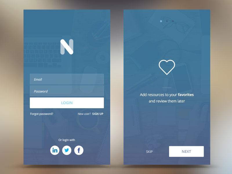 "Project ""N"" design iphone app walkthrough login blue mobile ui ux"