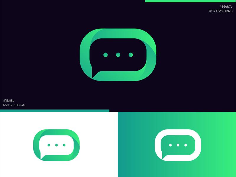 green talk logo logo illustrator minimal art vector flat app icon branding design