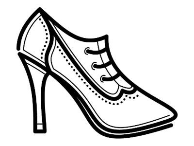 Revised Ladies Wingtip Shoe wingtip sketch vector illustrator shoe heels line
