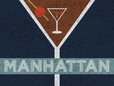 Manhattan inception label graphic design booze