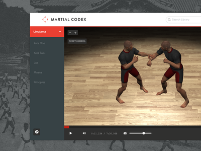 Martial Codex product martial arts animation ui ux webgl 3d rendering fighting web application