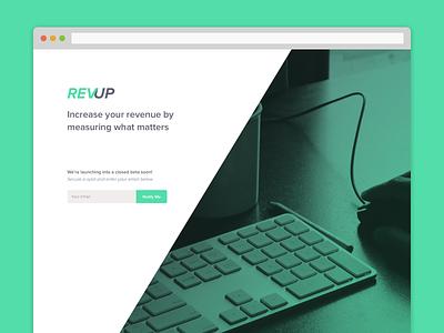 REVUP landing revup revenue metrics product ui ux proxima nova green