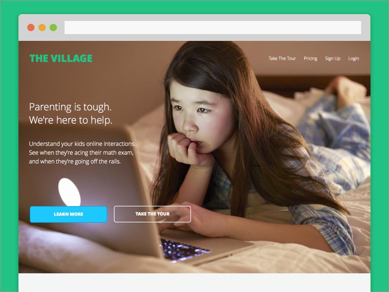 The Village parenting product ux ui open sans analytics dashboard marketing web social media