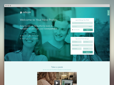 Realtor.com Profiles realtor landing page product ux ui real estate angular app
