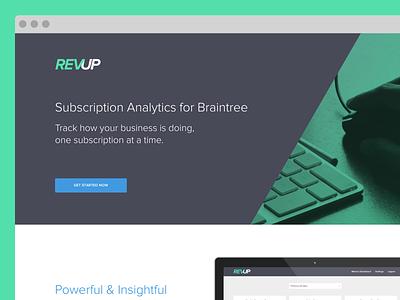 REVUP revup analytics sass braintree payment processor product proxima nova mvp
