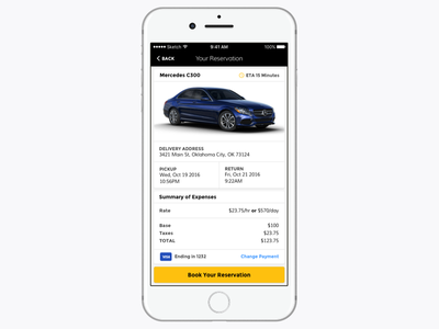 Car Rental yellow black car automobile rental ux ui mobile iphone ios