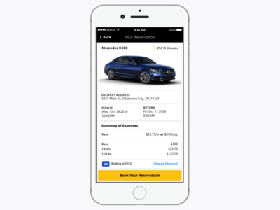 Car Rental yellow black car automobile rental ux ui mobile iphone ios