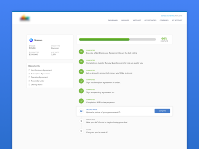 Investment Docs workflow investment web ux ui green blue