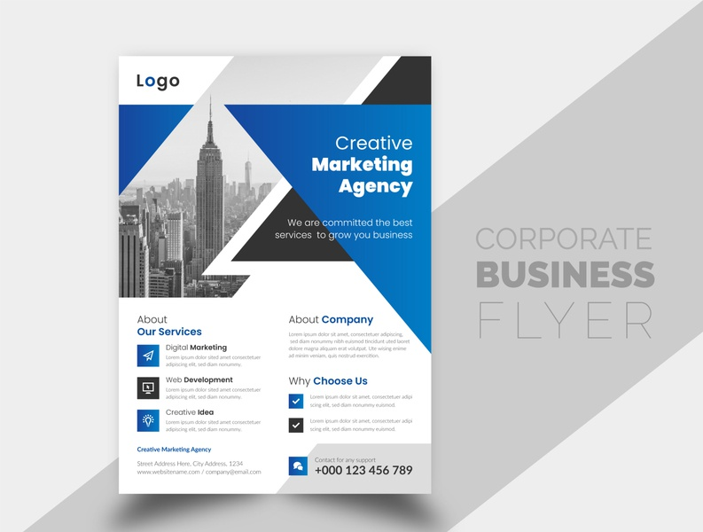 Creative and Simple Corporate Business Flyer Design Template geometric abstract new clean simple company cover flyer corporate flyer design corporate flyer corporate business flyer design businessflyer business brochure cover brochure branding brand best flyer templates design