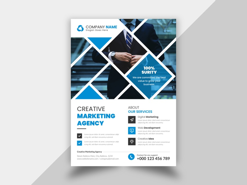 Creative and Simple Corporate Business Flyer Design Template photo vector psd mockup unique creative company new elegant corporate flyer corporate business flyer design businessflyer business brochure cover brochure branding brand best flyer templates design