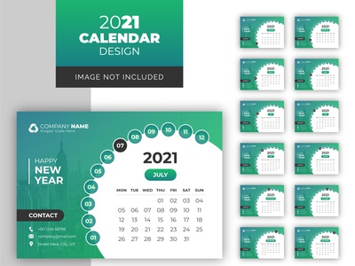 Creative desk and wall calendar template 2021 clean calender calendar 2021 day design flat monday month new year note office organizer photography planner print ready colorful print company corporate calendar