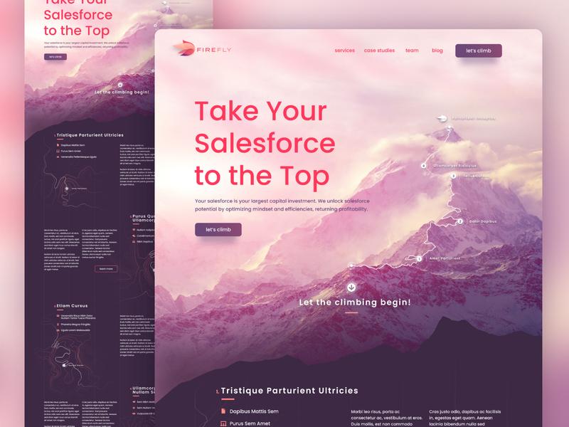 FireFly Homepage Exploration headline typography trail path mountain home landing homepage branding ux ui