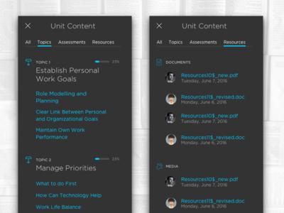 LMS – Unit Content management learning lms menu gotham tabs ui ux web responsive progress indicator