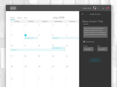 LMS – Calendar Add Event management learning lms event add calendar web ux ui tabs responsive gotham