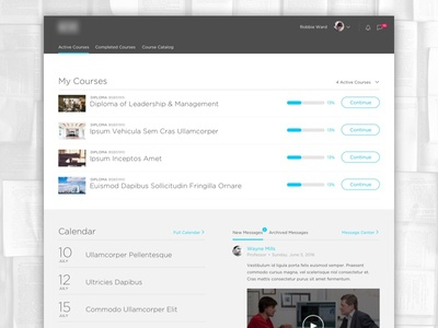 LSM – Active Courses calendar messages chat list web ux ui responsive management lms learning gotham