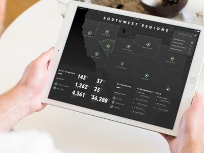 Cambeo iPad Dashboard Prototype dashboard productivity sales analytics metrics retail map dark ui ux