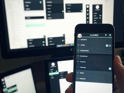 Cambeo Responsive Nav prototype sketch green grey navigation productivity dropdown menu nav responsive ui ux