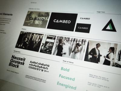Cambeo Brand Book tone guidelines neuzeit grotesk branding logo photography typography style brand book cambeo