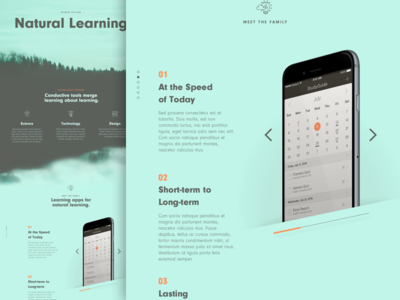 Conductive Preview slider calendar learning lms green mood branding responsive web ui ux